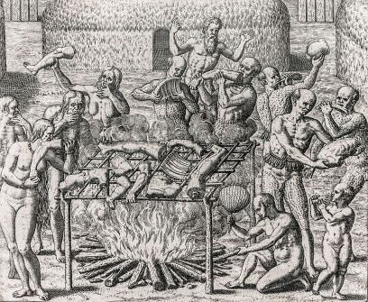 Cannibalism in Brazil engraving by Theodor de Bry to illustrate Hans Staden's account of his captivity in 1557.